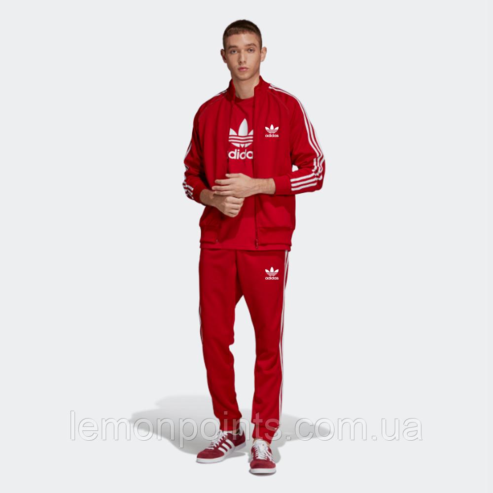 Теплый мужской спортивный костюм с лампасами Adidas на молнии (красный (Флис)) дайвинг