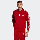Теплый мужской спортивный костюм с лампасами Adidas на молнии (красный (Флис)) дайвинг, фото 2