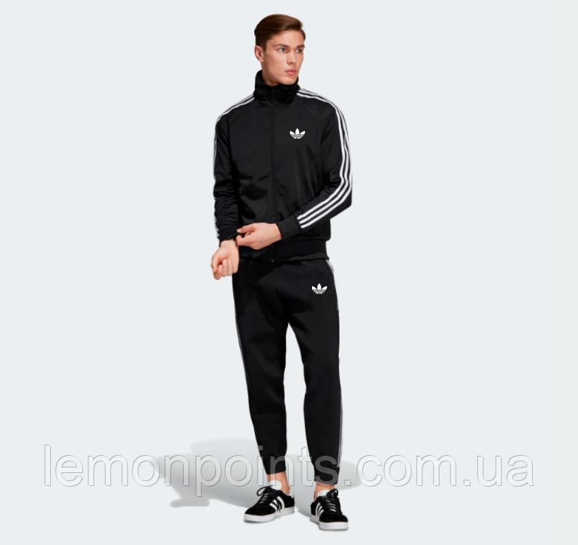 Теплый мужской спортивный костюм с лампасами Adidas на молнии (адидас) черный (Флис)