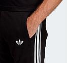 Теплый мужской спортивный костюм с лампасами Adidas на молнии (адидас) черный (Флис), фото 3