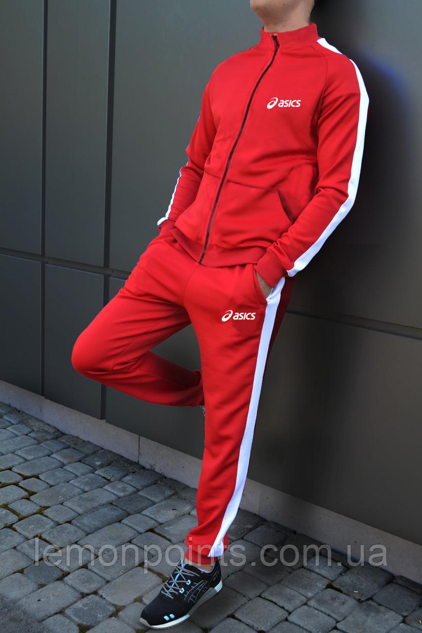 Теплый мужской спортивный костюм с лампасами Asics на молнии (асикс) красный ФЛИС (до -25 °С)