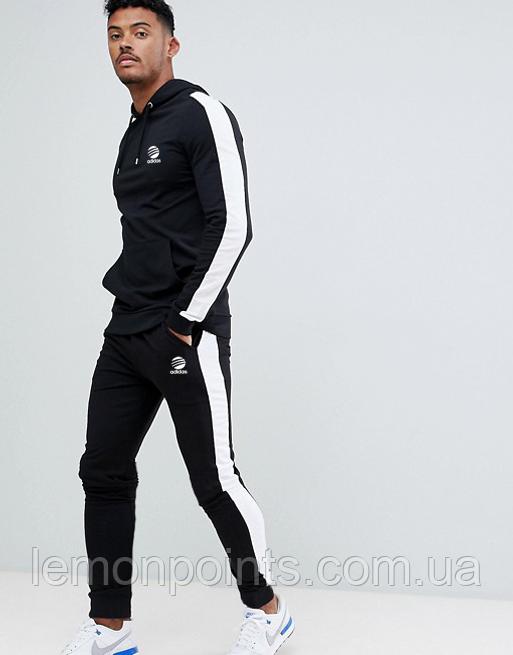 Теплый мужской спортивный костюм с лампасами Adidas (адидас) черный ФЛИС (до -25 °С)