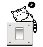 """Наклейка на стену, виниловые наклейки, украшения стены наклейки """"спящий Кот на выключатель, розетки"""" (13*10см)"""