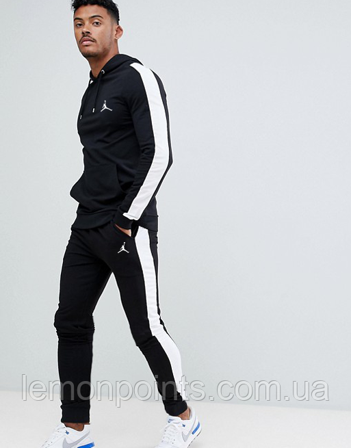 Теплый мужской спортивный костюм с лампасами Jordan (черный ФЛИС (до -25 °С))