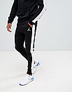 Теплый мужской спортивный костюм с лампасами Jordan (черный ФЛИС (до -25 °С)), фото 2