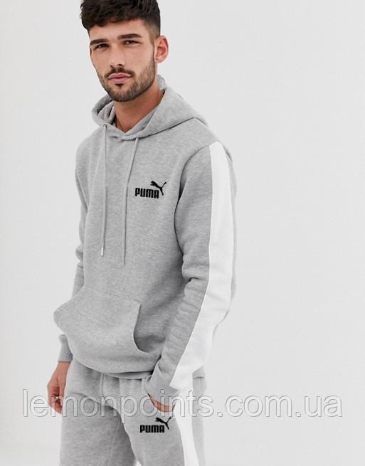 Теплый мужской спортивный костюм с лампасами Puma (пума) серый (Флис)