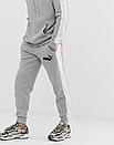 Теплый мужской спортивный костюм с лампасами Puma (пума) серый (Флис), фото 2