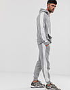 Теплый мужской спортивный костюм с лампасами Puma (пума) серый (Флис), фото 3
