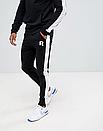 Теплый мужской спортивный костюм с лампасами Reebok (рибок) черный (Флис), фото 2
