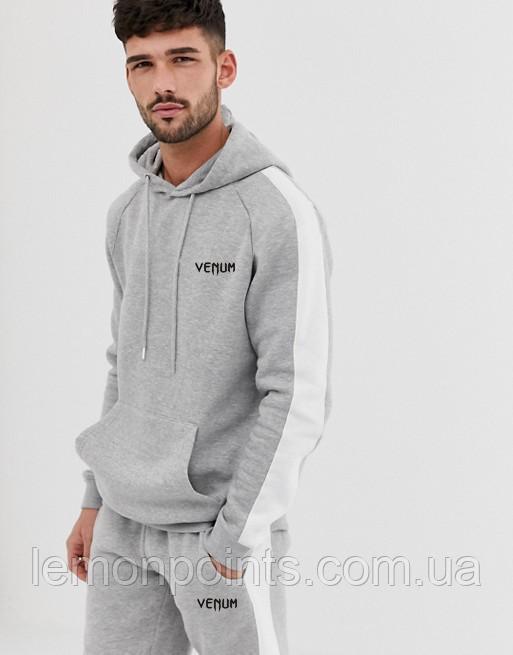 Теплий чоловічий спортивний костюм з лампасами Venum (Сірий)