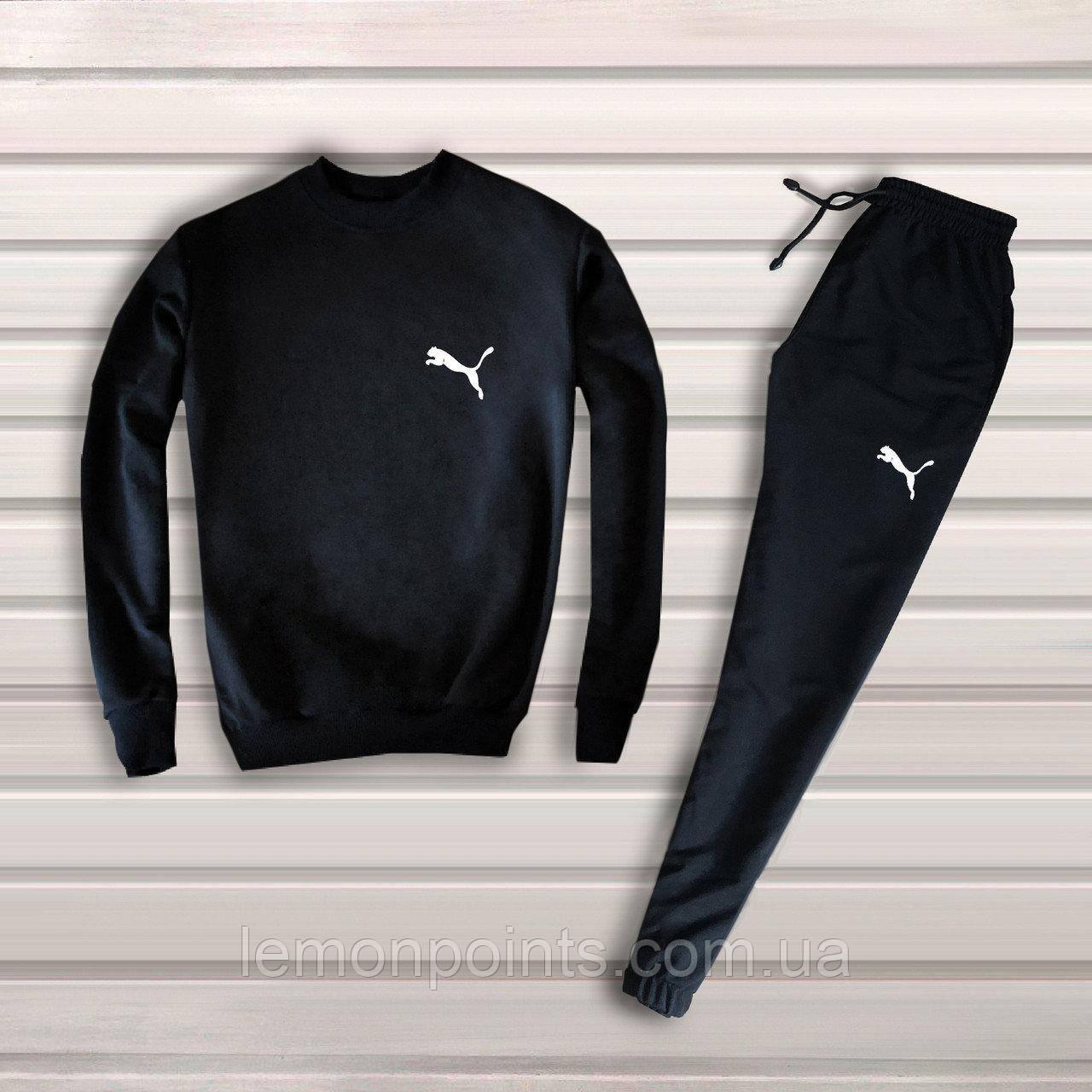 Теплый мужской спортивный костюм Puma без капюшона  (пума) черный (Флис)