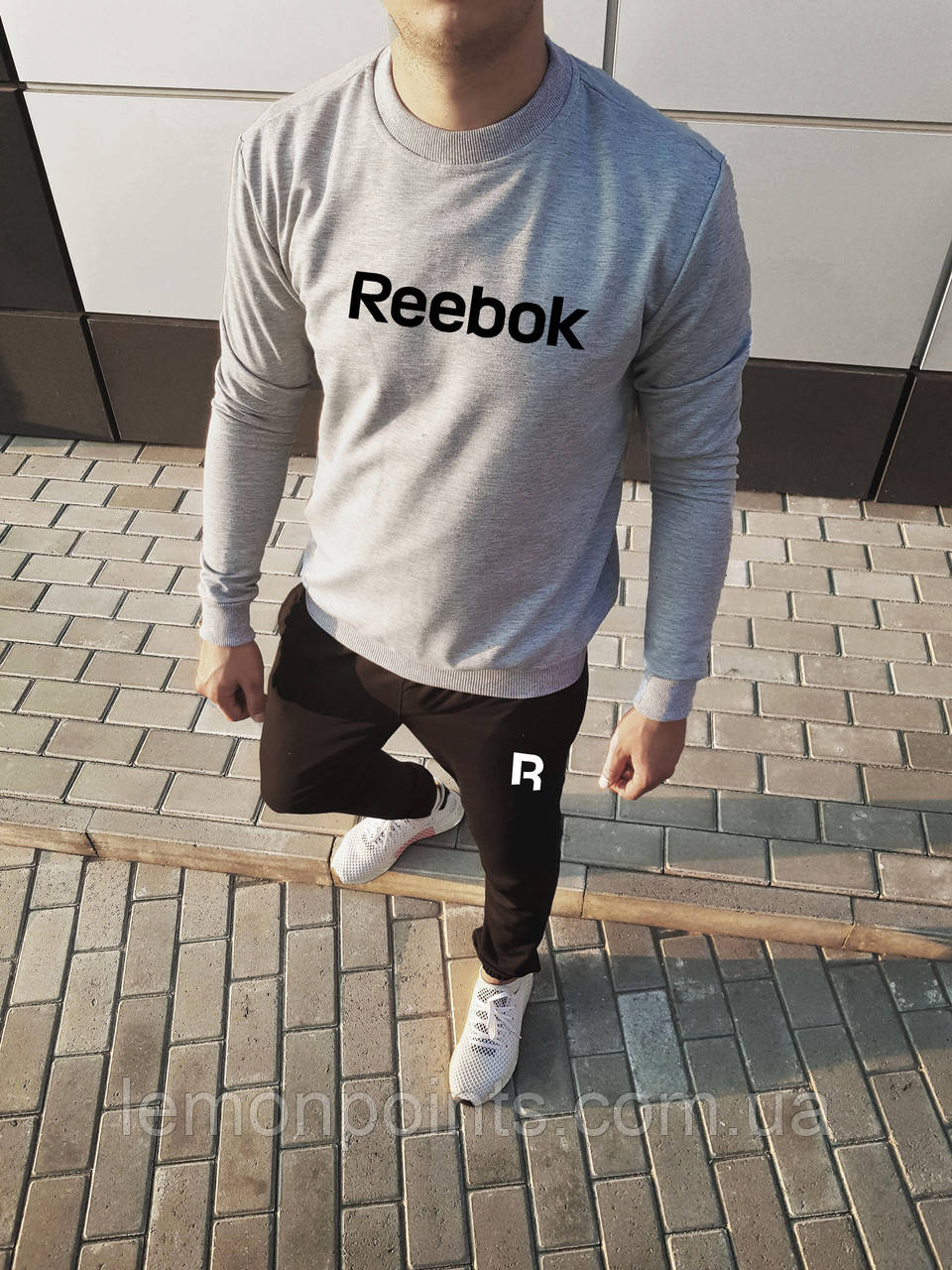Теплый мужской спортивный костюм Reebok без капюшона (Рибок)