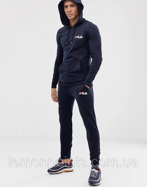 Теплий чоловічий спортивний костюм Fila (Філа) Темно-синій