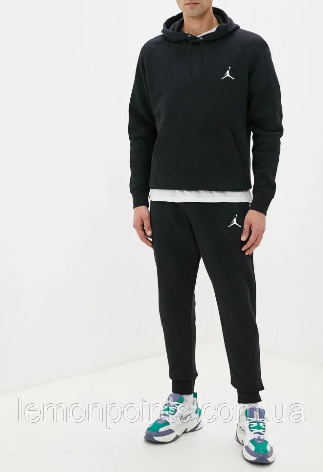 Теплый мужской спортивный костюм Jordan с капюшоном (Джордан) черный (Флис)