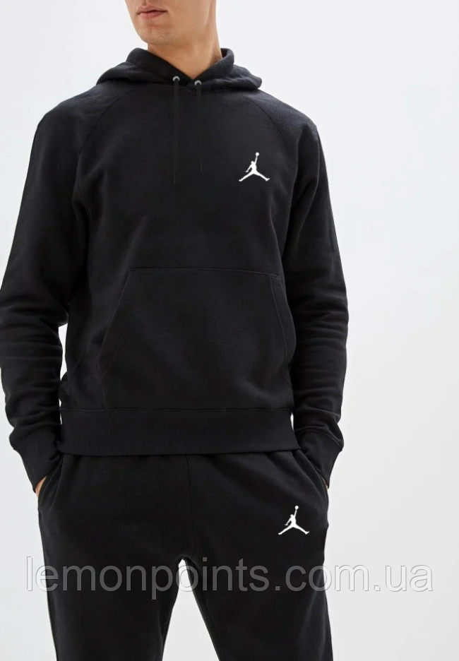 Теплый мужской спортивный костюм Jordan с капюшоном (Джордан) черный ФЛИС (до -25 °С)