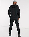 Теплый мужской спортивный костюм New Balance с капюшоном (Нью Беленс) черный (Флис), фото 2