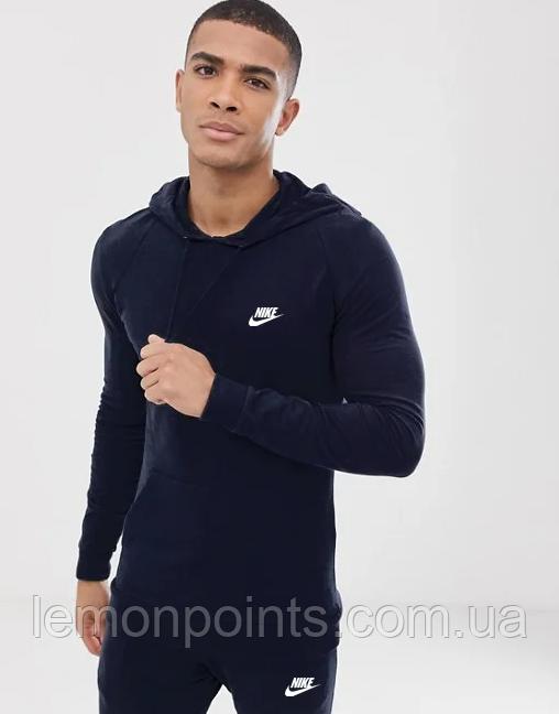 Теплый мужской спортивный костюм Nike с капюшоном (Найк) синий ФЛИС (до -25 °С)