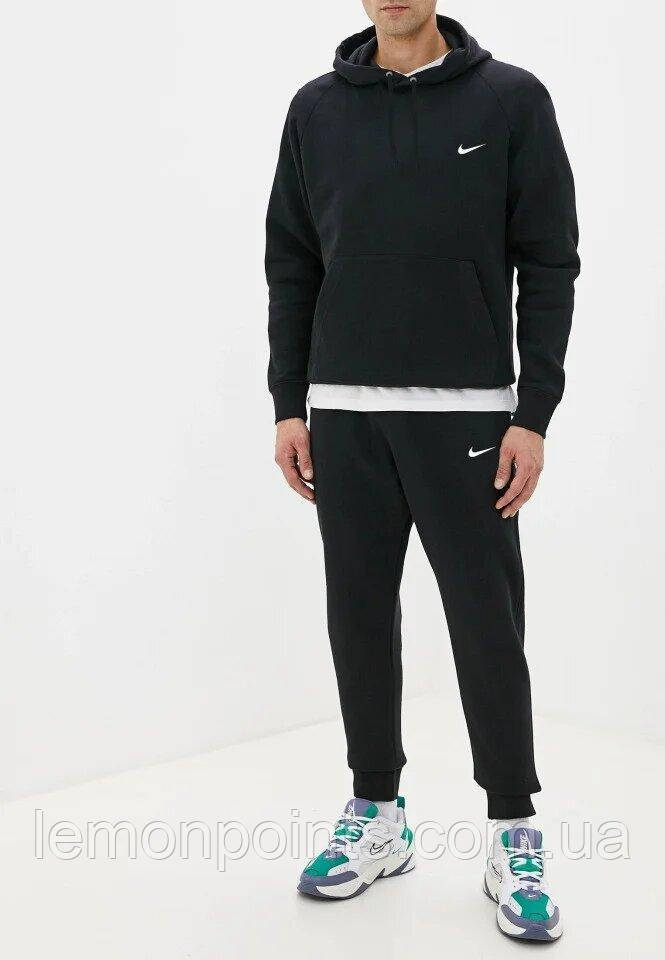 Теплый мужской спортивный костюм Nike с капюшоном (Найк) черный (Флис)