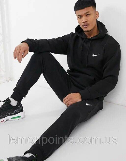 Теплый мужской спортивный костюм Nike с капюшоном (Найк) черный ФЛИС (до -25 °С)