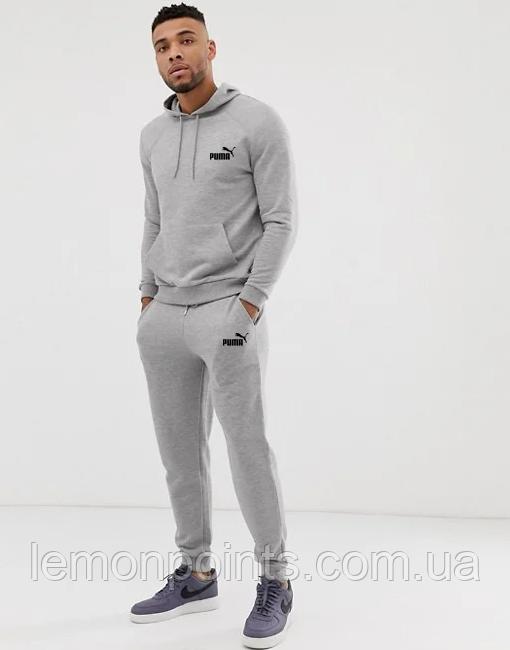 Теплый мужской спортивный костюм Puma с капюшоном (Пума) серый ФЛИС (до -25 °С)
