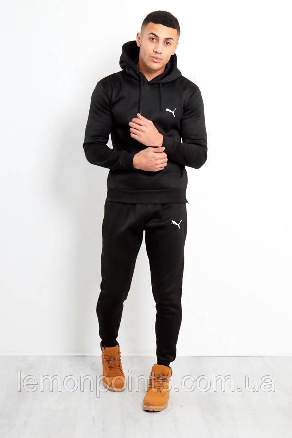 Теплый мужской спортивный костюм Puma с капюшоном (Пума) черный (Флис)