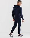 Теплый мужской спортивный костюм Puma с капюшоном (Пума) синий ФЛИС (до -25 °С), фото 2