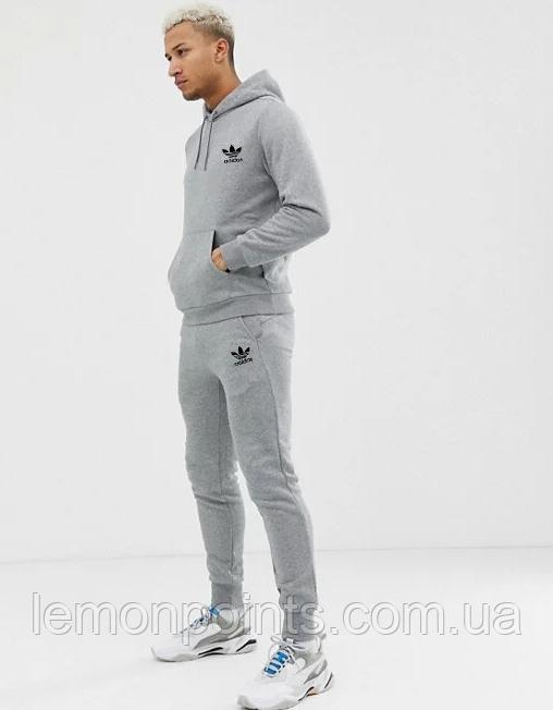 Теплий чоловічий спортивний костюм Adidas (Адідас) Сірий