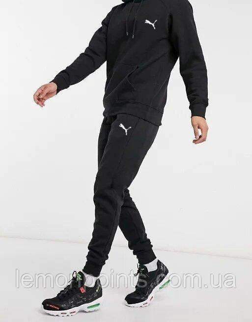 Теплый мужской спортивный костюм Puma с капюшоном (Пума) черный ФЛИС (до -25 °С)