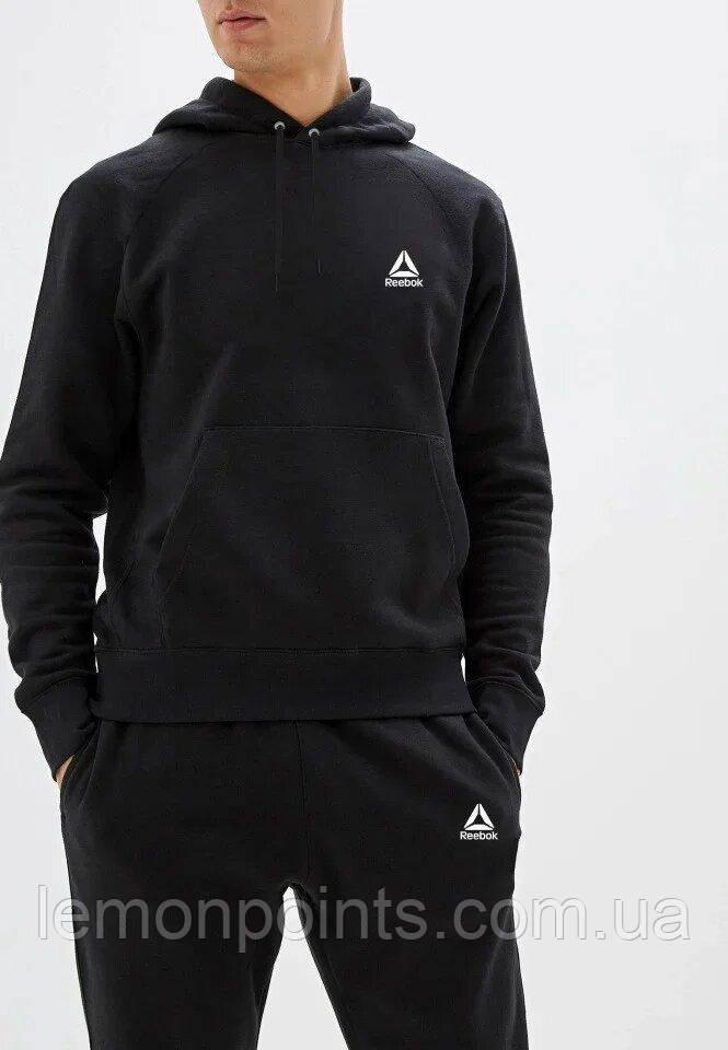 Теплый мужской спортивный костюм Reebok с капюшоном (Рибок) черный ФЛИС (до -25 °С)