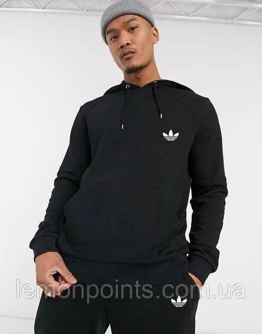 Теплый мужской спортивный костюм Adidas с капюшоном (Адидас) черный (Флис)