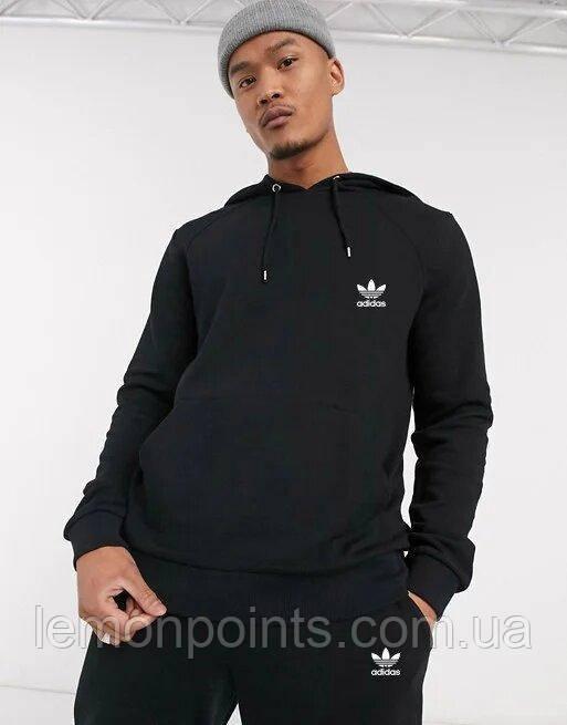 Теплый мужской спортивный костюм Adidas с капюшоном (Адидас) черный ФЛИС (до -25 °С)