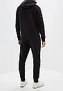 Теплый мужской спортивный костюм Adidas с капюшоном (Адидас) черный ФЛИС (до -25 °С), фото 2