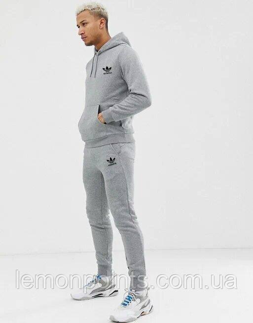 Теплый мужской спортивный костюм Adidas с капюшоном (Адидас) серый ФЛИС (до -25 °С)