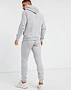 Теплый мужской спортивный костюм Adidas с капюшоном (Адидас) серый ФЛИС (до -25 °С), фото 3