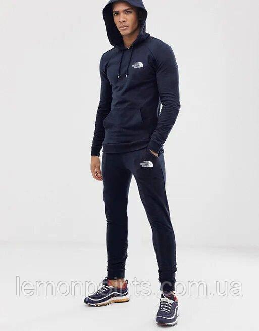 Теплый мужской спортивный костюм The North Face с капюшоном (Зе Норз Фейс) синий (Флис)