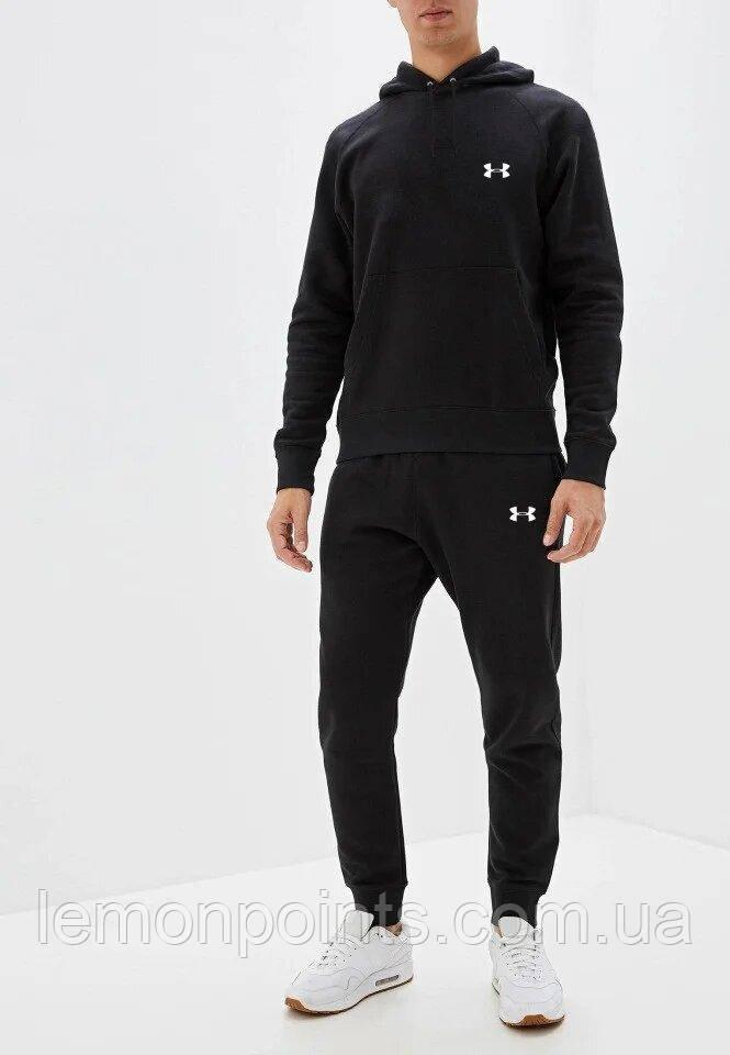 Теплый мужской спортивный костюм Under Armour с капюшоном (Андер армор) черный (Флис)