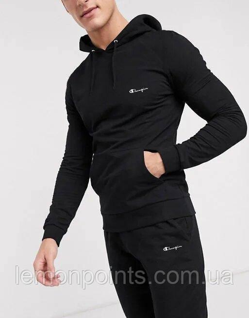 Теплый мужской спортивный костюм Champion с капюшоном (Чемпион)  черный ФЛИС (до -25 °С)