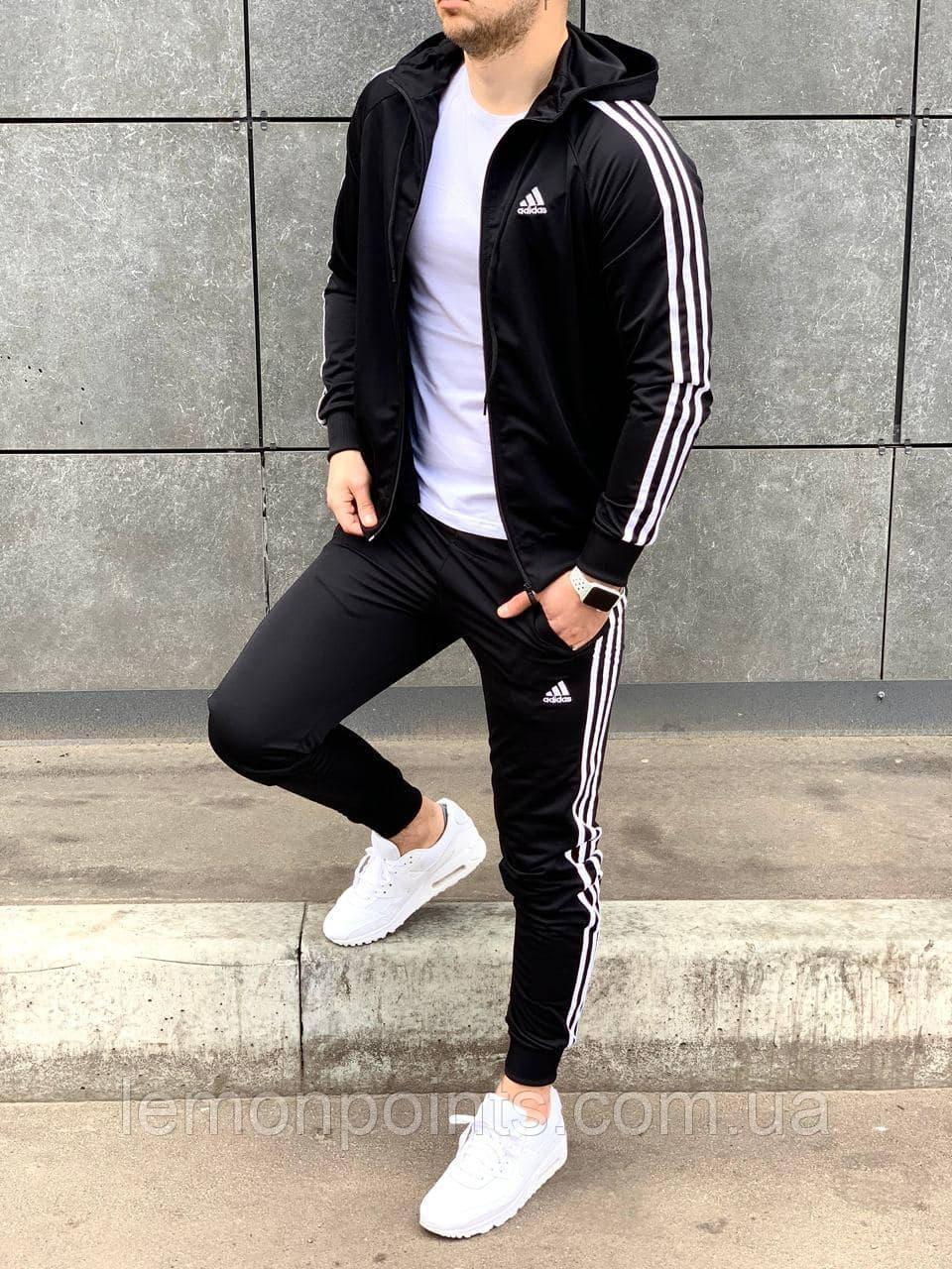 Теплый мужской спортивный костюм Adidas с лампасами на молнии адидас с капюшоном
