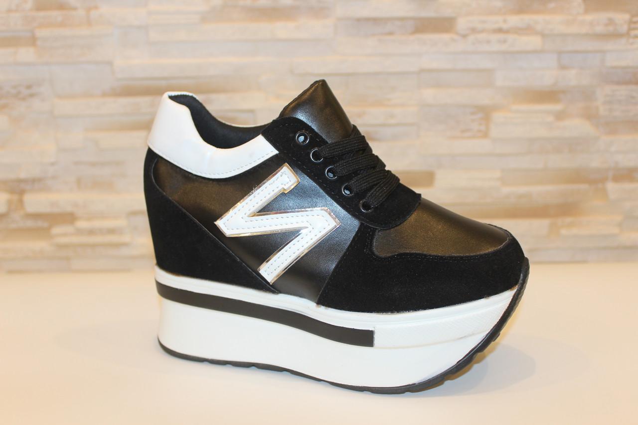 Сникерсы кроссовки женские черные с белыми вставками Т1024