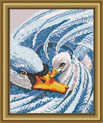 """Рисунок на ткани для вышивания бисером """"Мамина любовь (Лебеди)"""", фото 2"""