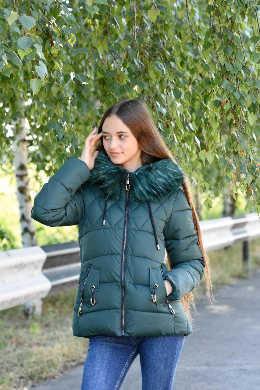 Куртка жіноча зелена зимова код П338