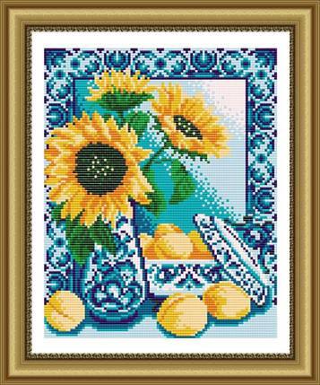 """Рисунок на ткани для вышивания бисером """"Гжель. Персики"""", фото 2"""