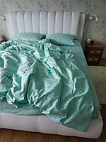 Двохспальний страйп сатин Мята