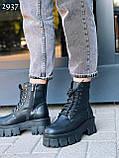 Женские ботинки ДЕМИ черные на шнуровке натуральная кожа весна/ осень, фото 3