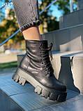 Женские ботинки ДЕМИ черные на шнуровке натуральная кожа весна/ осень, фото 5