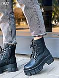 Женские ботинки ДЕМИ черные на шнуровке натуральная кожа весна/ осень, фото 7