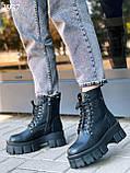 Женские ботинки ДЕМИ черные на шнуровке натуральная кожа весна/ осень, фото 8