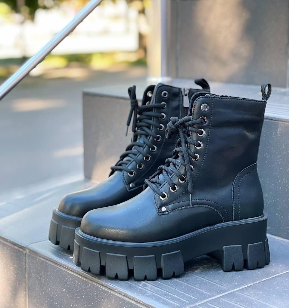 Женские ботинки ДЕМИ черные на шнуровке натуральная кожа весна/ осень