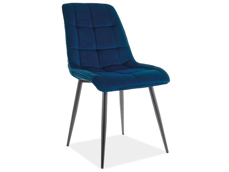 Насичений синій стілець Signal CHIC MATT VELVET Чорний / Синій (CHICMVCGR) на чорних ніжках