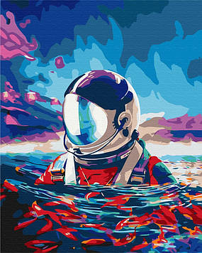 Картина по номерам 40х50 см Brushme Астронавт и рыбки (BS 35337)